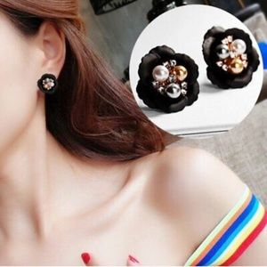 Black Flower Studs with Pearls
